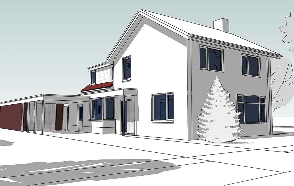 3D-Visualisatie voorzijde uitbreiding woning Rossum