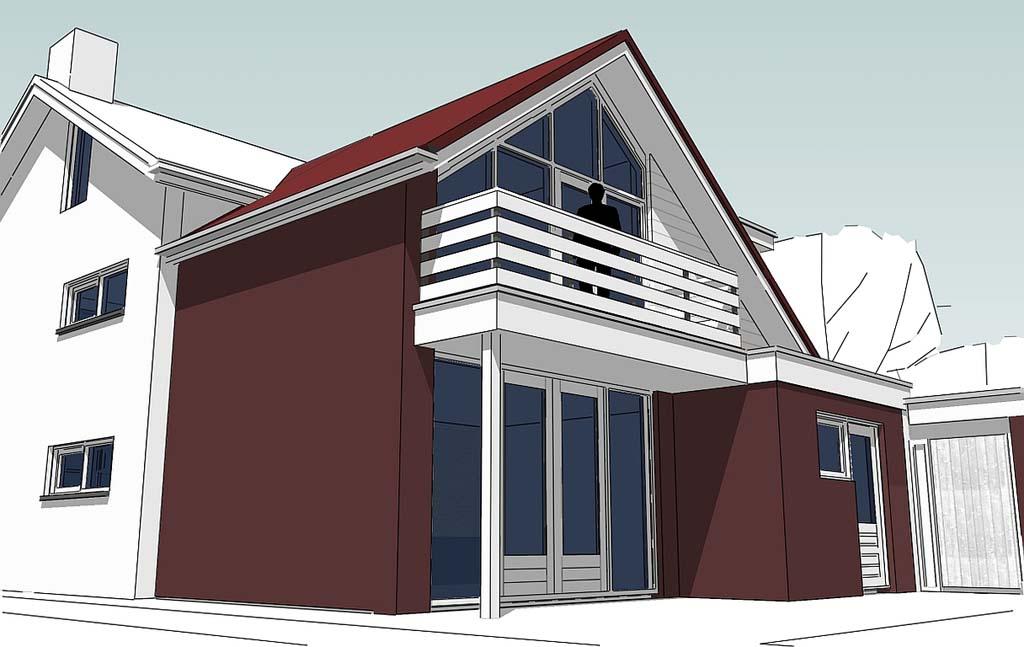 3D-Visualisatie achterzijde uitbreiding woning Rossum