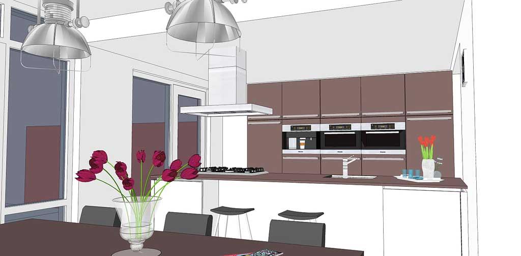 Uitbreiding woning erker en keuken for 3d interieur ontwerp